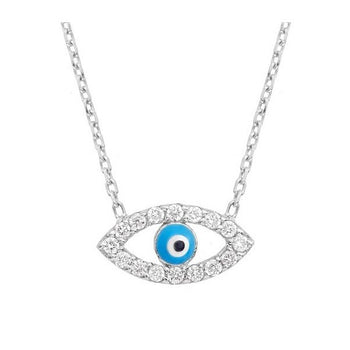 Diamond Evil Eye Necklace & 18k Solid Rose Gold