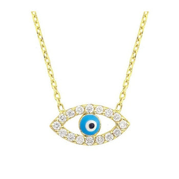 Diamond Evil Eye Necklace & 18k Solid Yellow Gold
