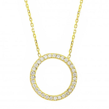 Diamond Circle of Life Necklace & 18K Solid Yellow Gold