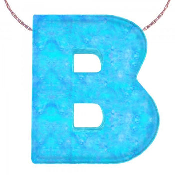 Alphabet B Letter - Opal Necklace