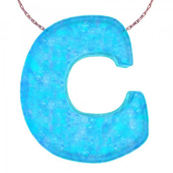 Alphabet C Letter - Opal Necklace