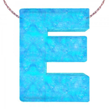 Alphabet E Letter - Opal Necklace