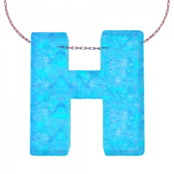 Alphabet H Letter - Opal Necklace