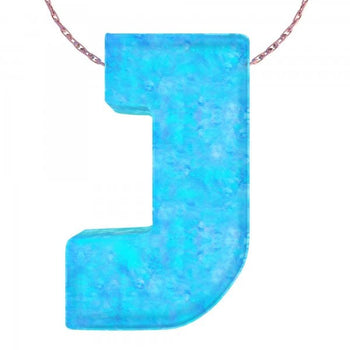 Alphabet J Letter - Opal Necklace