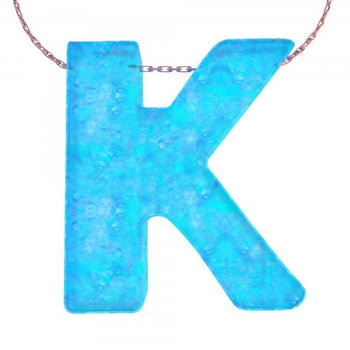 Alphabet K Letter - Opal Necklace