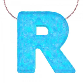 Alphabet R Letter - Opal Necklace