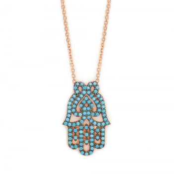 Turquoise Filigree Hamsa Hand Necklace || Ibiza Vibes