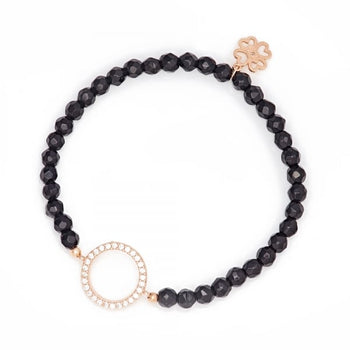 "Onyx Beaded Bracelet with "" Circle of Life "" ® Charm"
