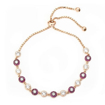 Chaton framed red and clear crystal pavé tennis bracelet, creating a beautiful sparkle