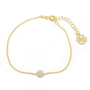 Mini tiny disk bracelet with clear cz stones / Stackable