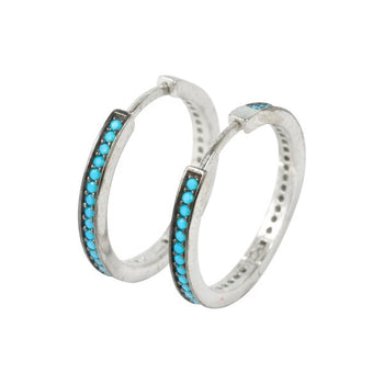 Large 20mm Turquoise Crystal Micro Set Huggie Hoops