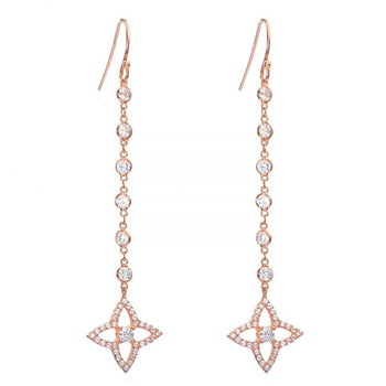 Quatrefoil flower crystal drop earrings