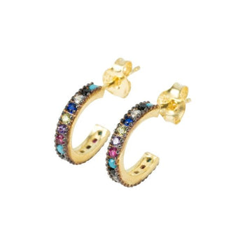 Multi crystal micro set mini hoops studs