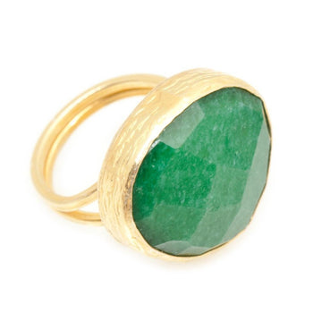 Emerald Ring In 18kt Yellow Gold Vermeil
