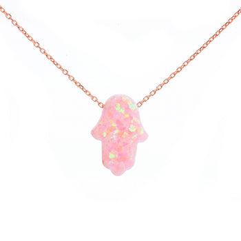 Pale Pink Opal Hamsa Hand Necklace