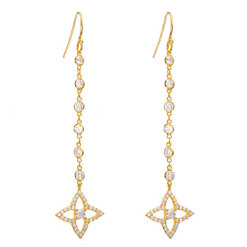 Quatrefoil flower crystal drop earrings - Luxury Gift Box