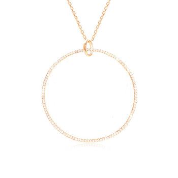80cm Long Necklace with a XL circle (Circle diam 40mm) - Sterling Silver