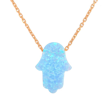 Blue Opal Hamsa Hand Necklace