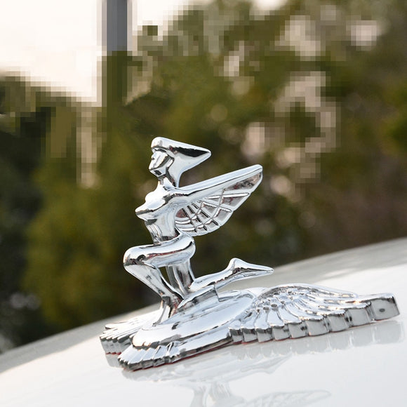 Standing Winged Goddess Figure with Bonnet Hood Ornament