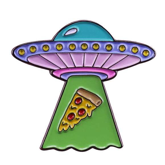 UFO abducting pizza brooch alien space pin