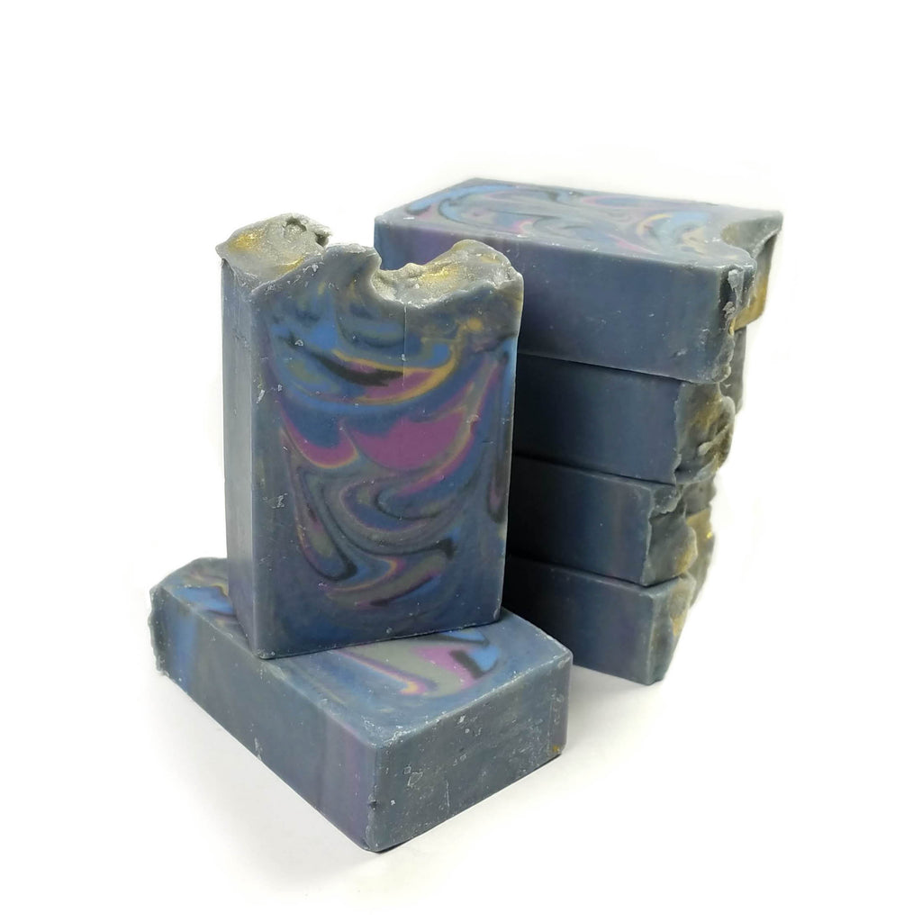 Blue Swirl All Natural Handmade Soap Bars Stacked