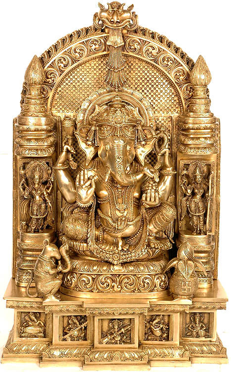 Ganesha Seated in Royal Ease Posture Flanked by Lakshmi and Saraswati with Pedestal Depicting Aspects of Ganesha as Musician