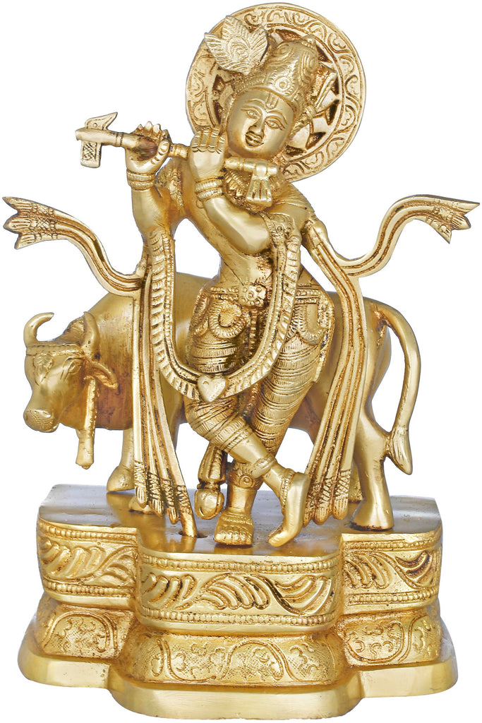 Fluting Krishna with His Cow