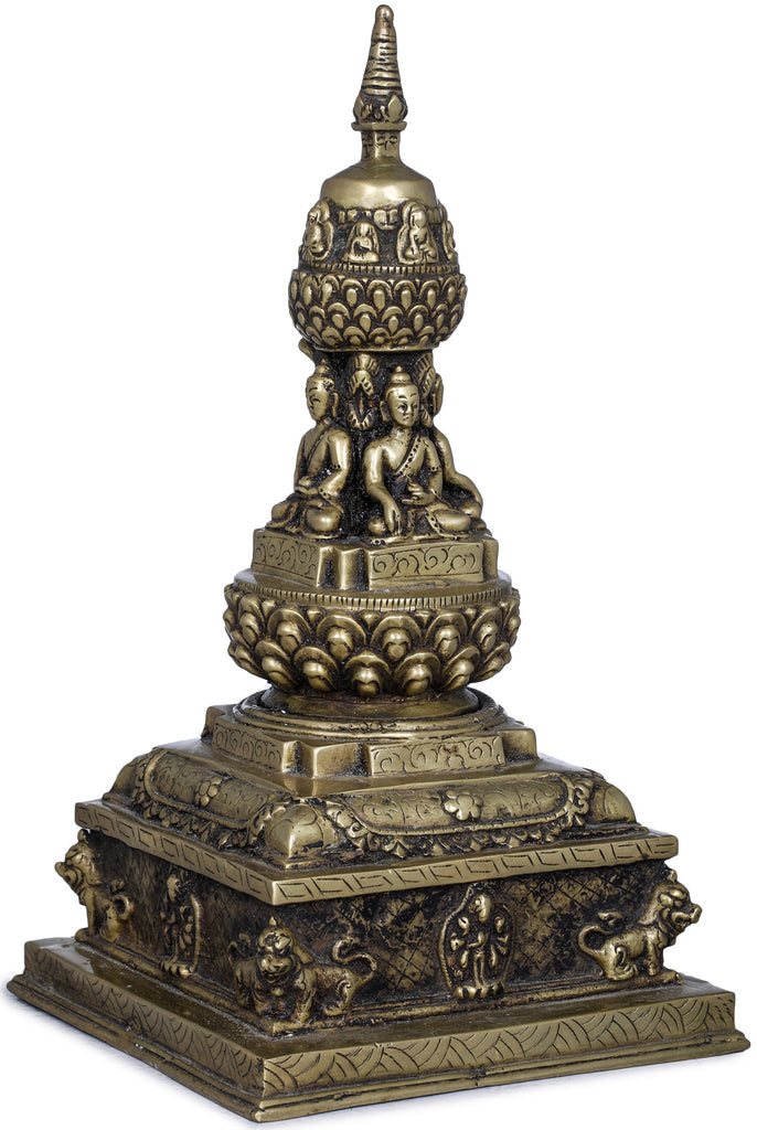 Votive Stupa with Cosmic Buddhas - Made in Nepal