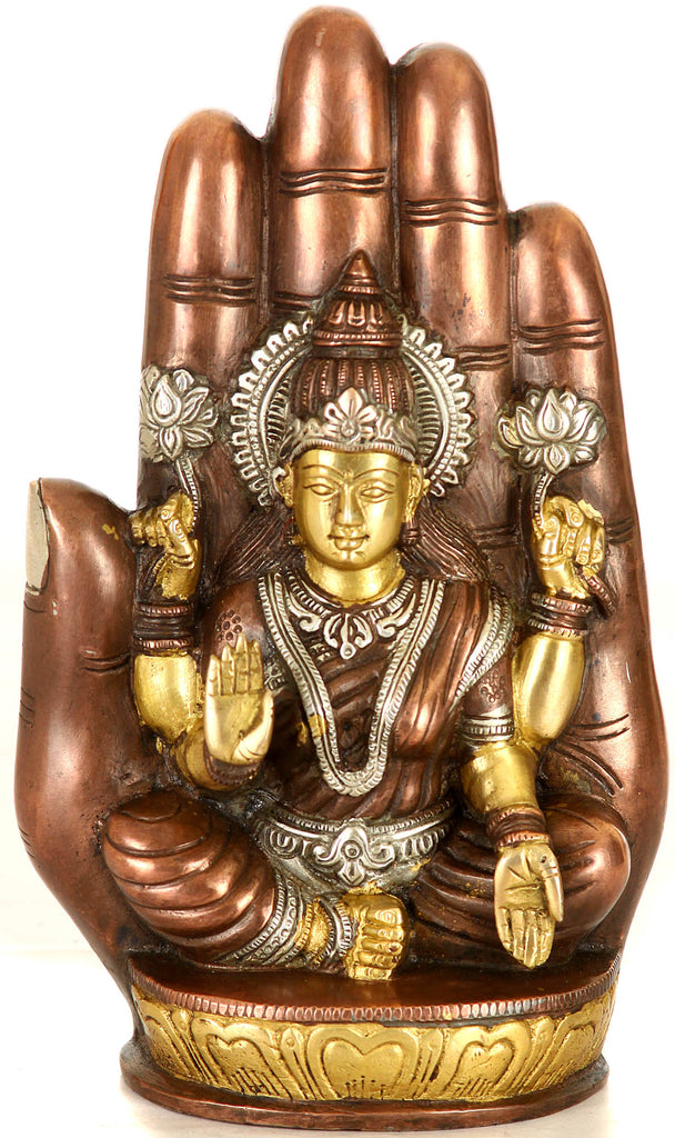 Goddess Lakshmi Seated on Lotus against the Aureole of a Hand