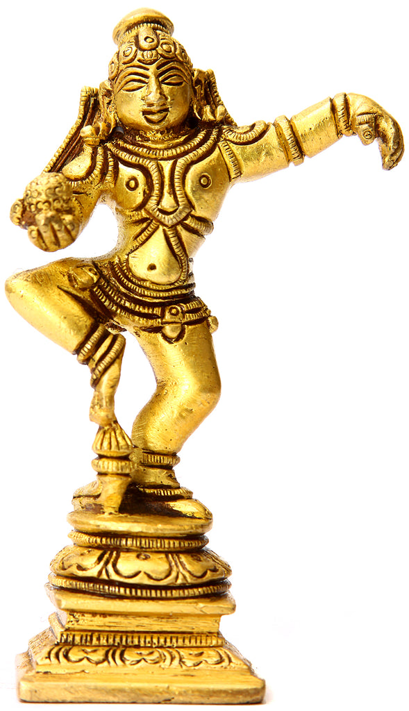 Dancing Baby Krishna with Butter Ball (Small Sculpture)