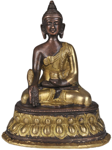 (Tibetan Buddhist Deity) The Medicine Buddha in Brown and Golden Hues