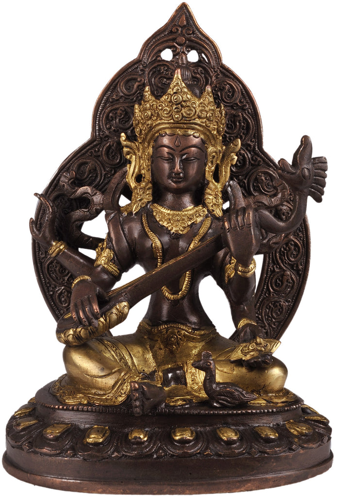 Four-Armed Seated Saraswati in Golden and Brown Hues