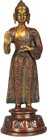 Tibetan Buddhist Standing Medicine Buddha with the Bowl of Medicinal Herbs