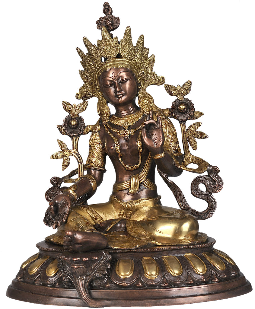 Tibetan Buddhist Saviour Goddess Green Tara in Brown and Golden Hues