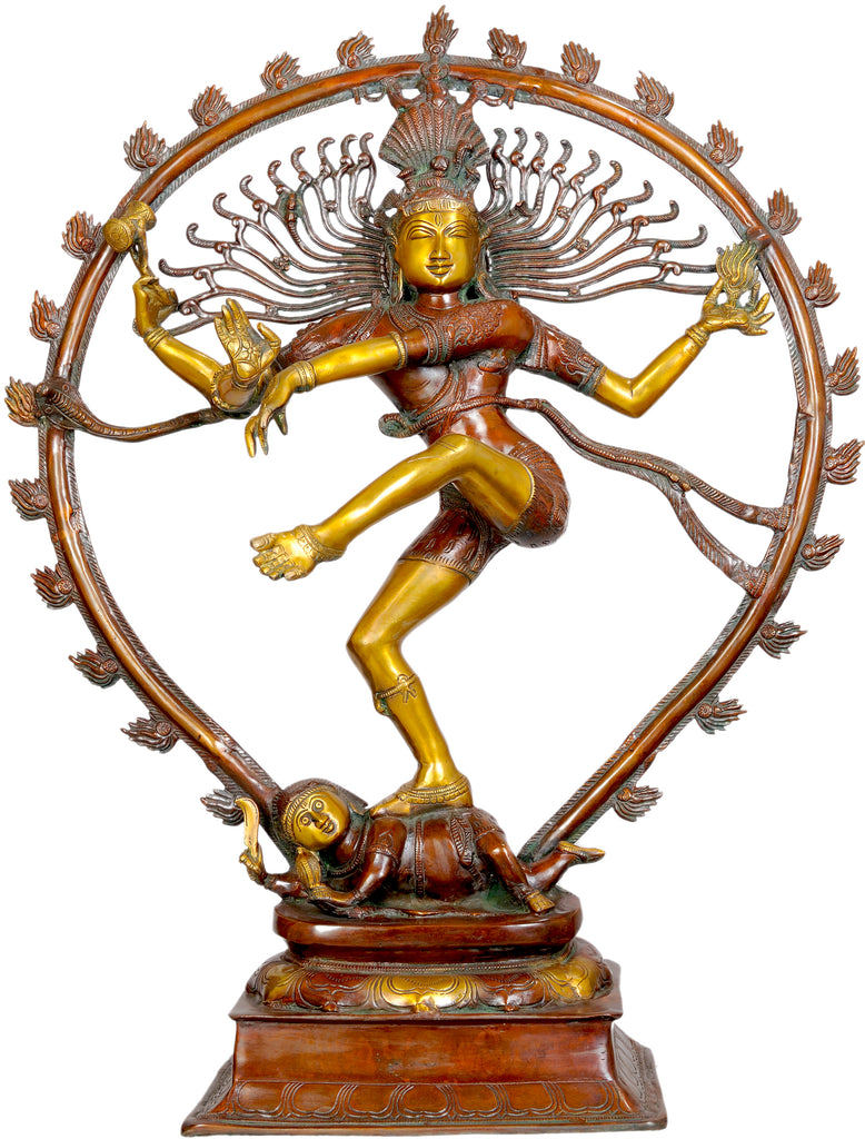 Large Size Nataraja in Brown and Golden Hues