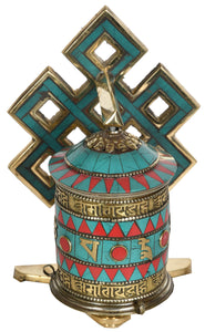(Made in Nepal) Prayer Wheel with Auspicious Mantras - Tibetan Buddhist