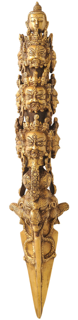 Tibetan Buddhist Mahakala Phurpa with the Buddha Head Atop