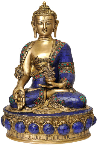 (Inlay Statue of Tibetan Buddhist Deity) Lapis Buddha of Healing