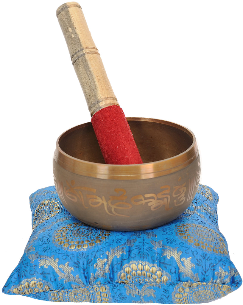 Tibetan Buddhist Singing Bowl Inside The Figure of Buddha in Bhumisparsha Mudra with Cushion