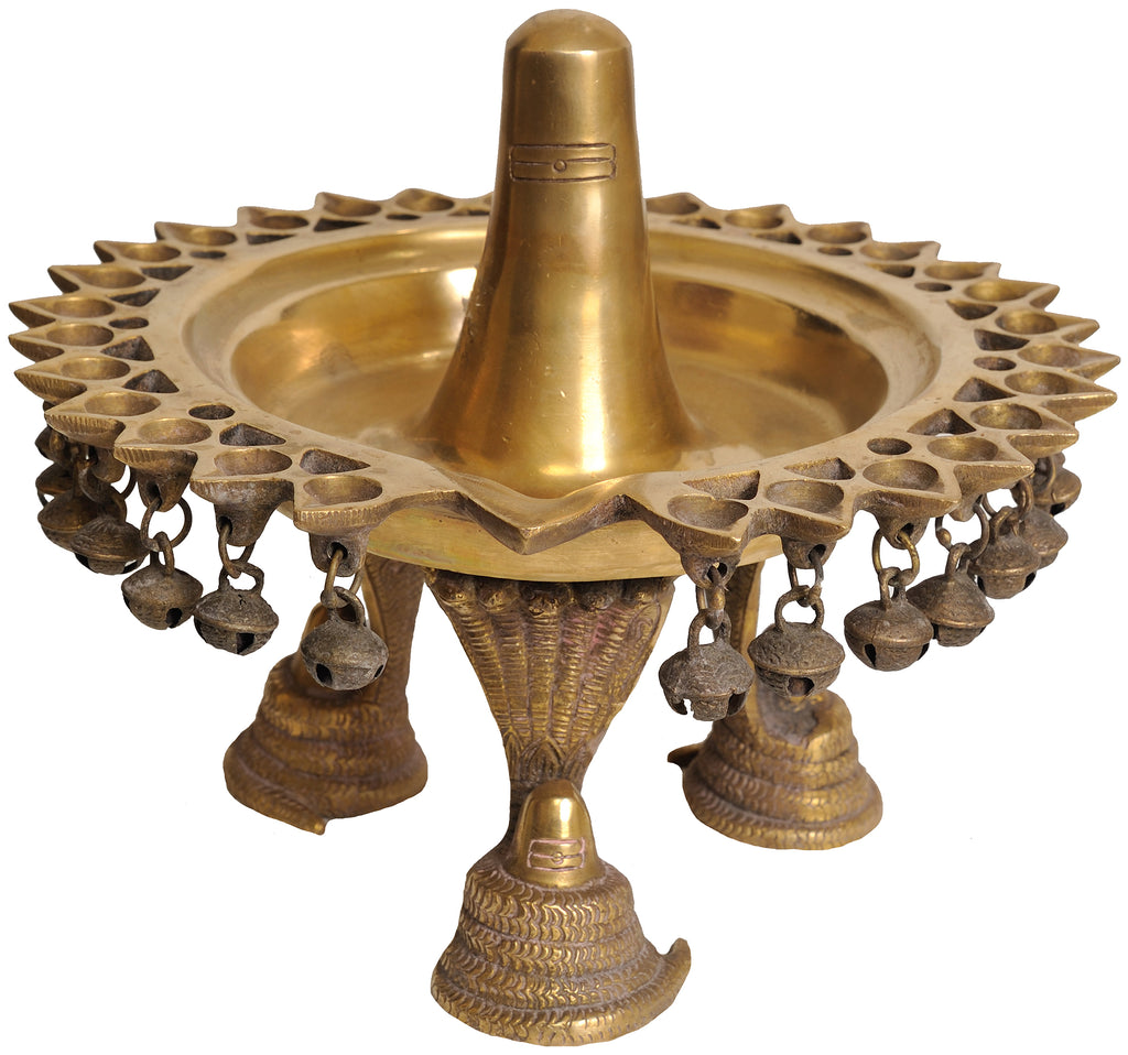 Shaivite Lamp with Ghungaroos Supported by Serpents