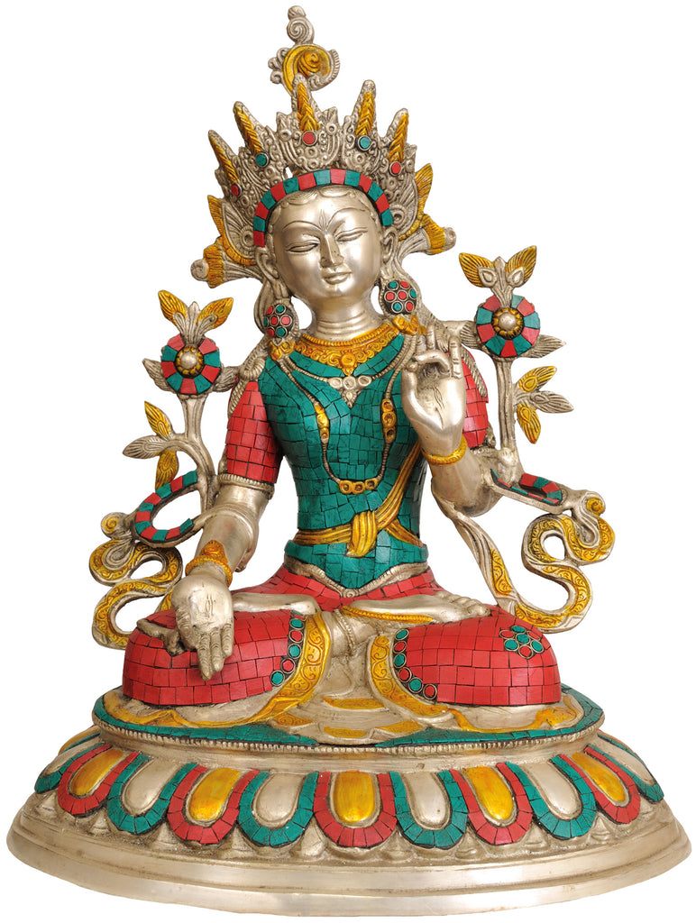 Inlay Statue of White Tara (Tibetan Buddhist Deity)