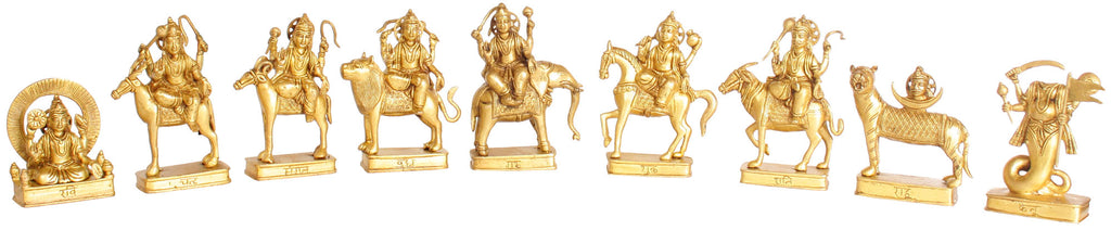 Navagrahas: Nine Planetary Gods ) From the left  Ravi, Chandra, Mangal, Budha, Guru, Shukra, Shani, Rahu and Ketu)