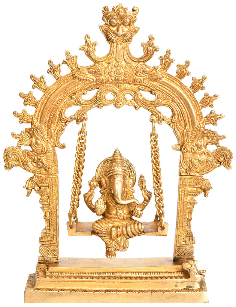 Shri Ganesha on a Swing with Kirtimukha Atop