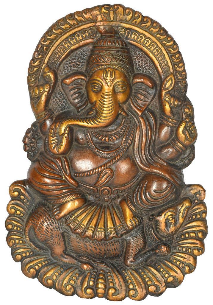 Ganesha Seated on Rat Wall Hanging (Flat Statue)