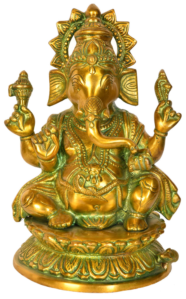 Lord Ganesha Seated on a Lotus Base