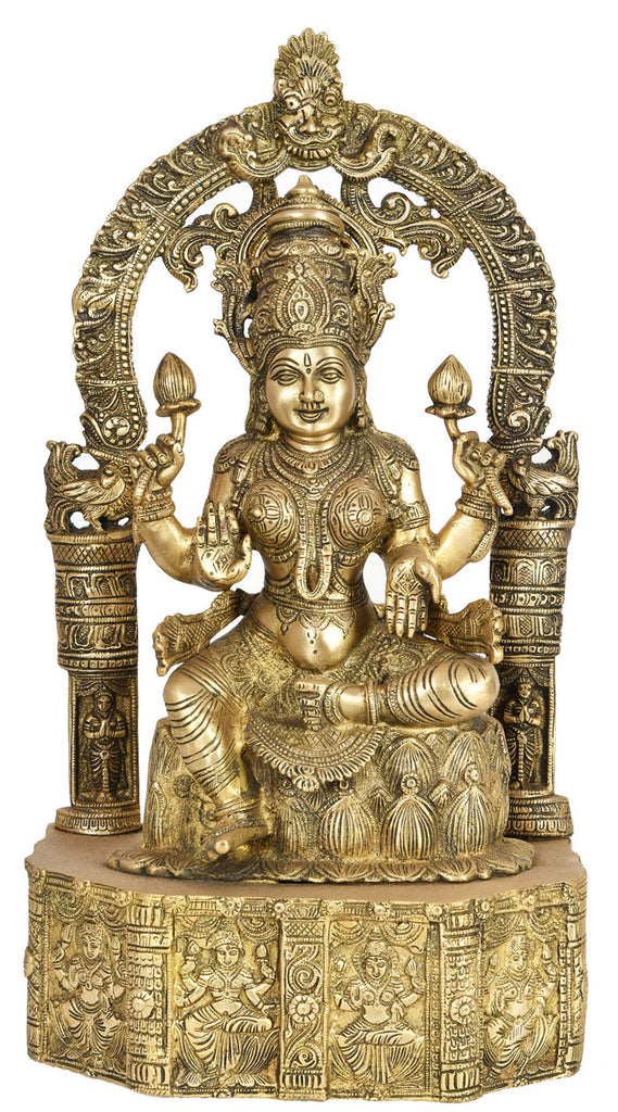 Goddess Lakshmi Seated on Lotus Base Carved with Hindu Deities