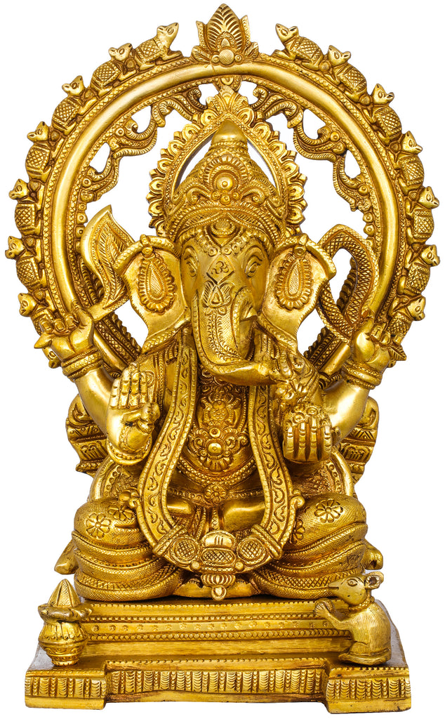 Throne Ganesha with Marching Rats Aureole