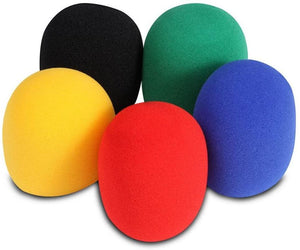 On-Stage ASWS58C5 Multi-Color Microphone Windscreens, 5 Pack