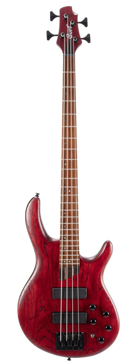 Cort Artisan Series B4 Element 4-String Bass Guitar, Open Pore Burgundy Red