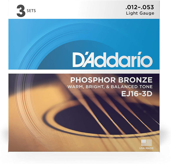 D'Addario 3-Pack Phosphor Bronze Acoustic Guitar Strings